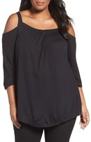Sejour Plus Size Women's Knit Cold Shoulder Top