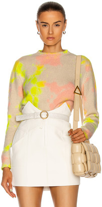 The Elder Statesman Hot Dye Simple Crop Crew Sweater in Ivory, Neon Yellow & Pink | FWRD