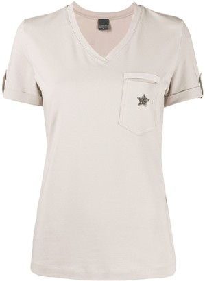 Lorena Antoniazzi star patch V-neck T-shirt