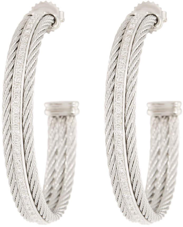 Alor Classique Hoop Earrings w/ Diamond Center