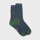 Paul Smith Women's Petrol Socks With Contrasting PS Logo