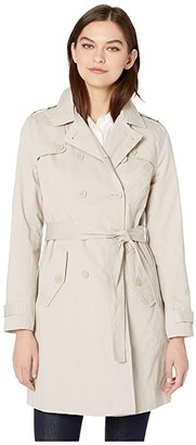 Cupcakes And Cashmere Cydney Double Breasted Cotton Trench Coat (Ash Grey) Women's Clothing