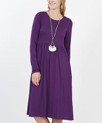 Lydiane Women's Casual Dresses DK.PURPLE - Dark Purple Long-Sleeve Empire-Waist Dress - Women