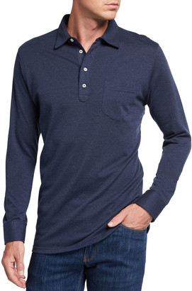 Peter Millar Men's Avon Long-Sleeve Cotton-Cashmere Polo Shirt