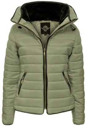 Urban Fashion New Ladies Womens Quilted Padded Puffer Bubble Collar Warm Thick Jacket Coat Size S To Xl (L=12