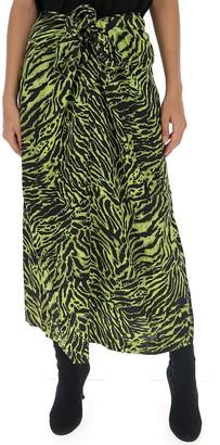 Ganni Tiger Print Tie Front Skirt