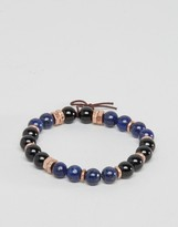 ICON BRAND Beaded Bracelet In Blue Exclusive To ASOS