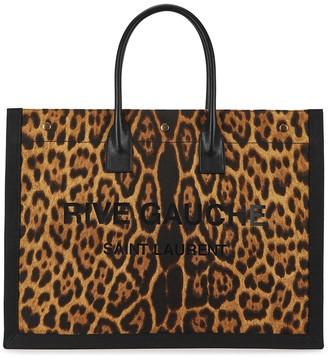 Saint Laurent Rive Gauche leopard-print canvas tote