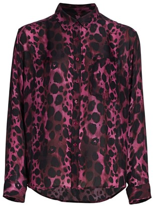 7 For All Mankind Long-Sleeve Leopard Print Blouse