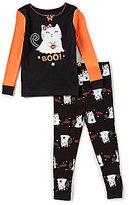 Komar Kids Little/Big Girls 2T-10 Halloween Boo Top & Cat-Print Pants Pajama Set