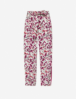 Me And Em Floral-print wide-leg high-rise woven trousers