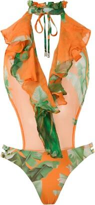 AMIR SLAMA Printed Ruffle Swimsuit