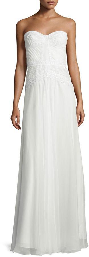 Mignon Sweetheart-Neck Lace-Trim Gown, White