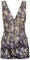 SILK READY TO WEAR Black and purple floral stretch lace playsuit with embroidery