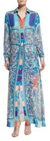 Etro Paisley Seersucker Long-Sleeve Shirtdress, Turquoise