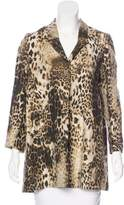 Maje Leopard Print Button-Up Blazer
