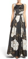 Eliza J Belted Metallic Jacquard Gown (Regular & Petite)