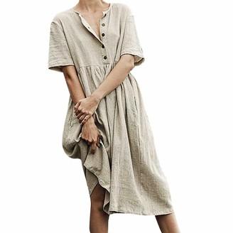 Gofodn Dresses for Women UK Plus Size 10-20 Casual O-Neck Button Cotton Linen Loose Short Sleeve Long Dress Green