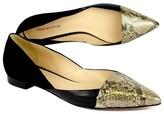 Alexandre Birman Black Suede & Gold Snakeskin Flats