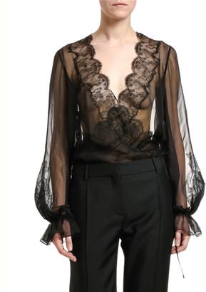 Valentino Sheer Silk-Lace Blouse