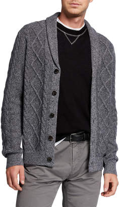 Neiman Marcus Men's Melange Cable-Knit Cardigan Sweater