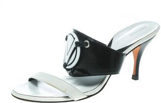 Versace Monochrome Leather Plaque Sandals Size 36