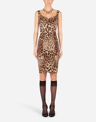 Dolce & Gabbana Leopard-Print Charmeuse Midi Dress