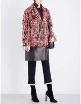 Alexander McQueen Ladies Black Notch-Lapel Tweed And Leather Coat
