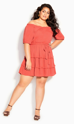 City Chic Fiesta Fringe Dress - tangerine