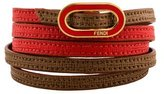 Fendi Two-Tone Leather Wrap Bracelet
