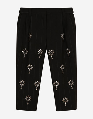 Dolce & Gabbana Pinstripe Carrot-Fit Pants With Fusible Bejeweled Detailing