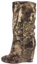 Chanel Metallic Wedge Boots