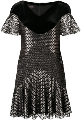 Talbot Runhof Metallic Mesh Mini Dress