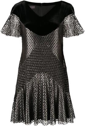 Talbot Runhof Metallic Mesh Mini Dress