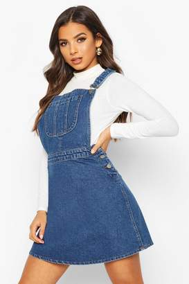 boohoo Pinafore Denim Skater Dress