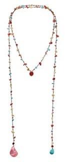 Aeravida Handmade Long Lariat Wrap Multi Wear Stones Beaded Necklace