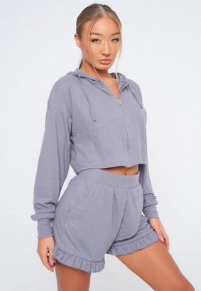 Missguided Slate Blue Soft Rib Hoodie And Frill Shorts Loungewear Set
