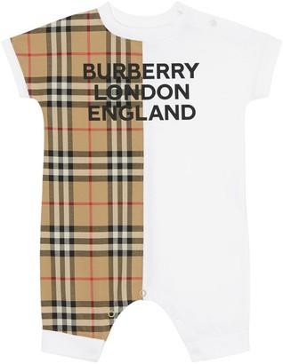 Burberry Check Cotton Poplin & Jersey Romper