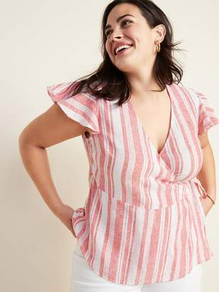 Old Navy Striped Linen-Blend Wrap-Front Plus-Size Top