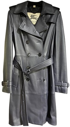 Burberry Navy Leather Trench Coat for Women