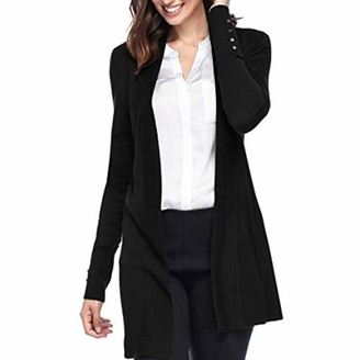 Rikay Women Sweater Womens Plus Size Cardigans Rikay Long Sleeve Open Front Waterfall Loose Draped Cardigan with Pockets Size 8-18 UK Black