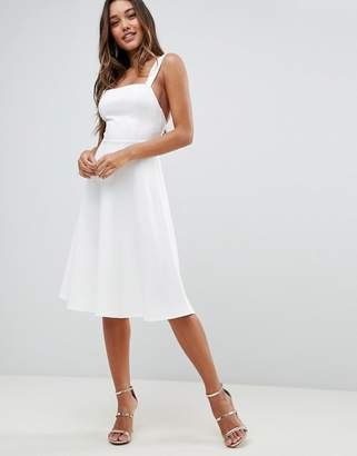 Asos Design square neck midi prom dress-White