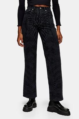 Topshop Womens Black Warp Print 90S Straight Jeans - Brown