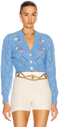 Alessandra Rich Wool Cardigan with Floral Details in Light Blue | FWRD