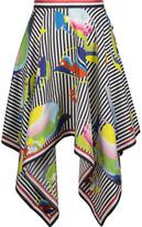 Thom Browne Asymmetric Printed Silk Midi Skirt