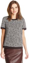 Calvin Klein Women's Printed Scuba Top with Rib Trim