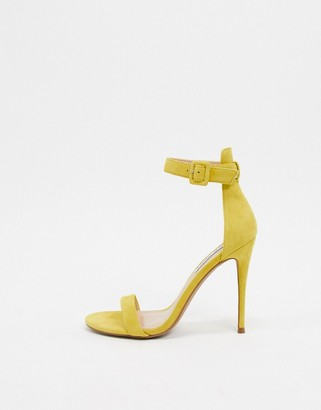 Steve Madden leather barely there stiletto heeled sandals in yellow