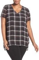 Vince Camuto Plus Size Women's 'Harbour Plaid' Short Sleeve V-Neck Blouse