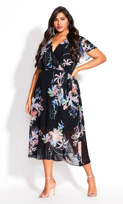 City Chic Angel Wing Floral Dress - black