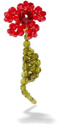 Simone Rocha Beaded Flower Single Earring - Red Multi